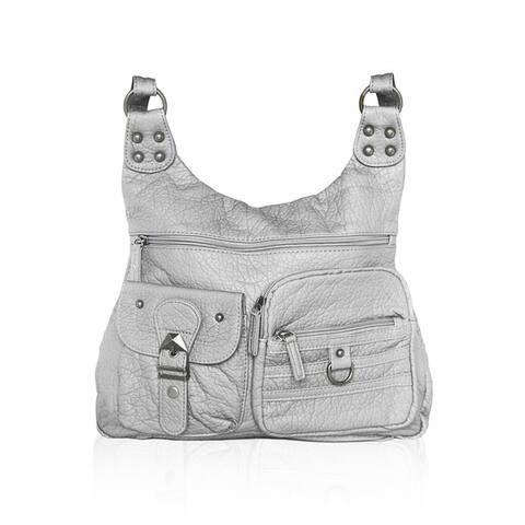 AFONiE Casual Washable Fashion Super Soft Leather Crossbody Handbag