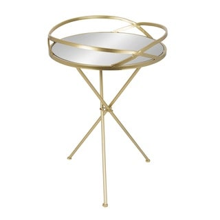 Kate and Laurel Margeilla Round Mirrored Metal Side Table