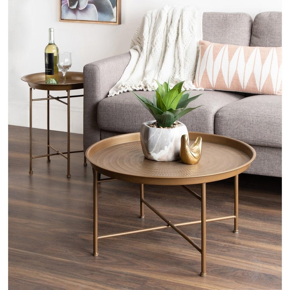 - Shop Kate And Laurel Mahdavi Hammered Metal Round Tray Table