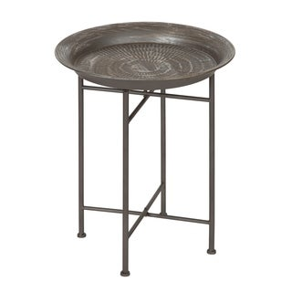 Kate and Laurel Mahdavi Hammered Metal Tray End Table, Pewter