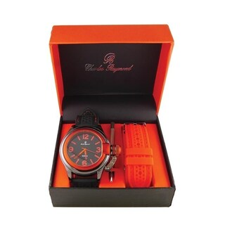 Men Sporty Changeable Band Watch Set 7069 (Option: Black - Orange - Orange)