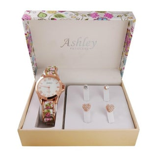 Ladies floral box & Watch With 2 Pair Earring Set 7916 (4 options available)