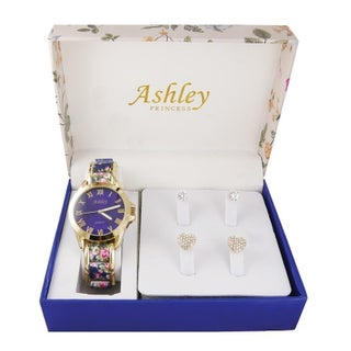 Ladies floral box & Watch With 2 Pair Earring Set 7916 (Option: Blue - Gold-Tone - Blue)