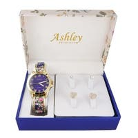 Ladies floral box & Watch With 2 Pair Earring Set 7916