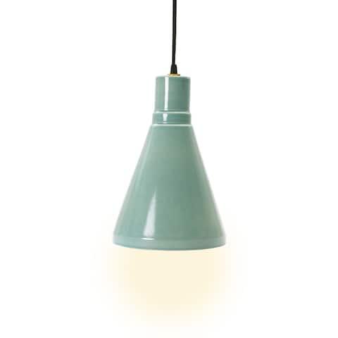 """Fangio Lighting's m.r.8795OCEAN 13"""" Ceramic Pendant in Ocean Spray"""