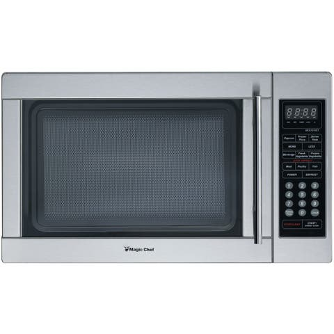 Magic Chef 1.3 Cu. Ft. 1000W Countertop Microwave Oven in Stainless Steel