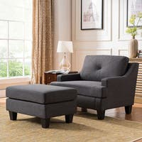 Milan 43-inch Grey Linen Track Arm Tufted Chair