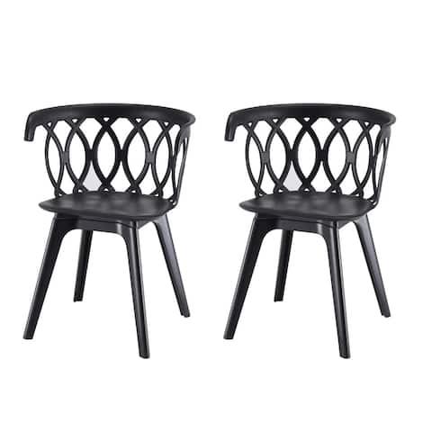 Mila Black Polypropylene Dining Chair (Set of 2)
