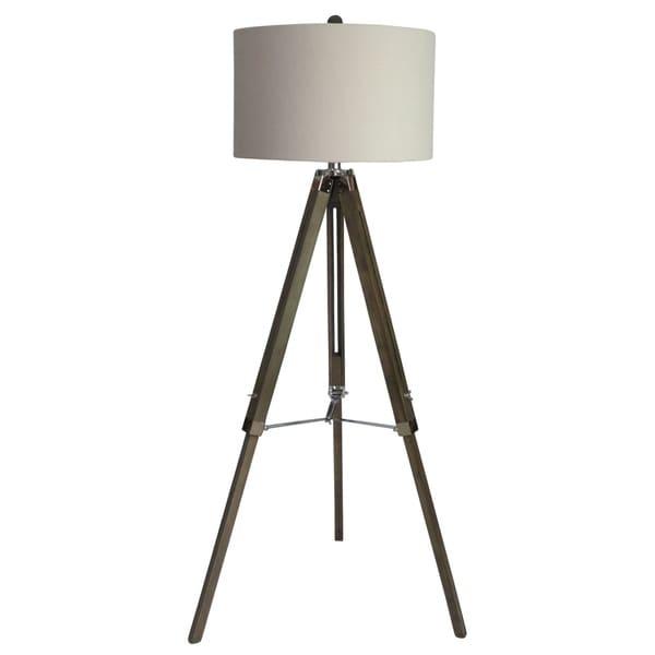 "Fangio Lighting's 2026SIL 60"" Grey Wood/Nickel Tripod Floor Lamp"