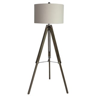 Fangio Lighting Grey Wood/Nickel 60-inch Tripod Floor Lamp