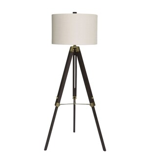 "Fangio Lighting's 2026ESP 60"" Espresso Wood/Brass Tripod Floor Lamp"