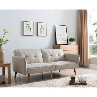 Halmstad Beige Wood 77-inch Linen Tufted Futon Sleeper Sofa