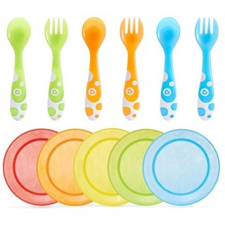 Munchkin Multi Feeding Plates with 6 Piece Fork and Spoon Set