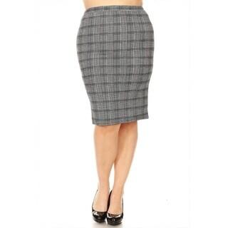 Women's Plus Size Plaid Pattern Pencil Skirt