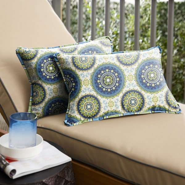 Shop Blue And Green Suzani Flange Indoor Outdoor Pillows Set Of 2