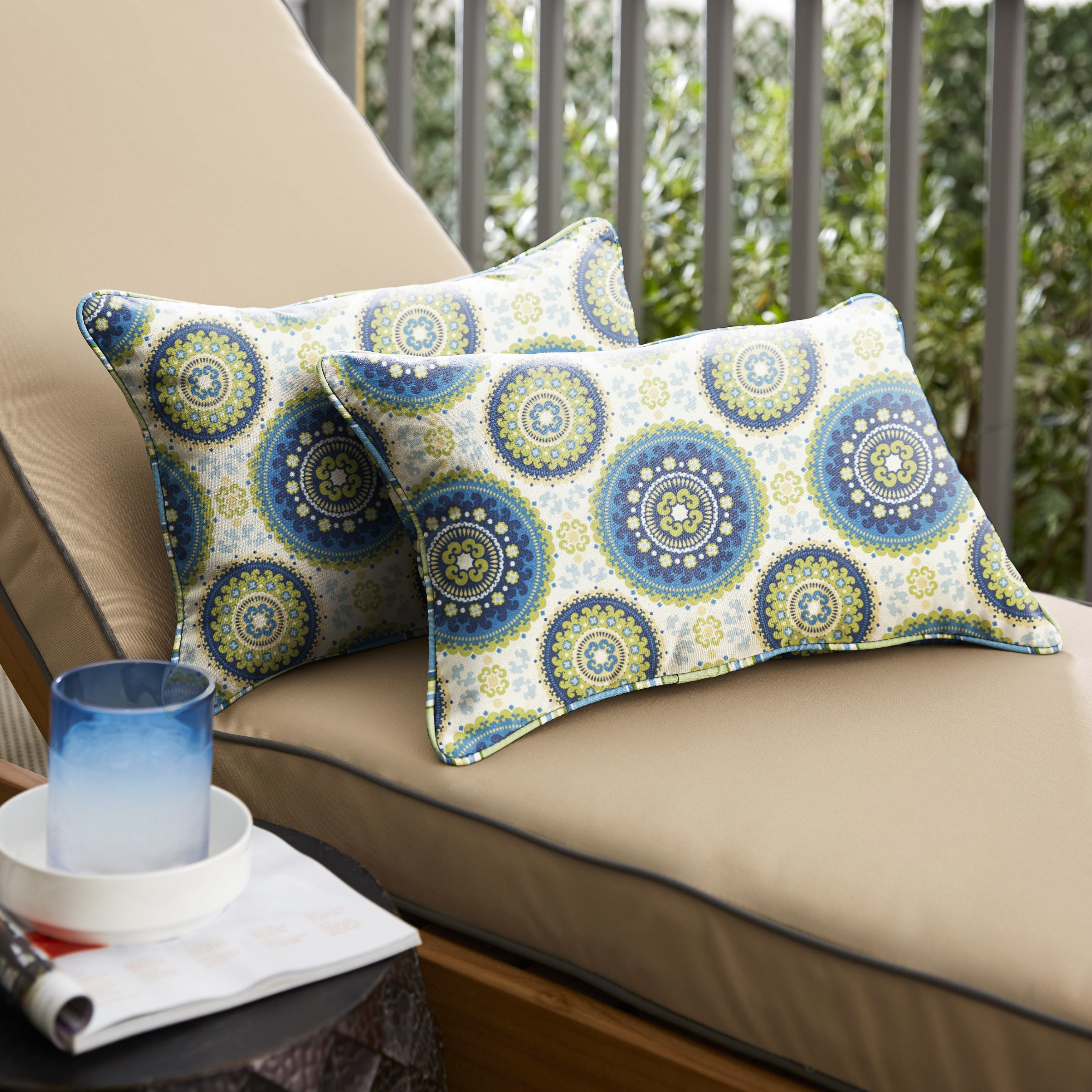 Outdoor Pillows Set Of 2.Humble Haute Blue And Green Suzani Corded Indoor Outdoor Pillows Set Of 2