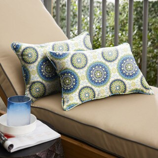Humble + Haute Blue and Green Suzani Corded Indoor/ Outdoor Pillows, Set of 2 (2 options available)