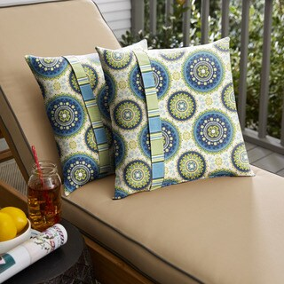 Humble + Haute Blue and Green Suzani Knife Edge Indoor/ Outdoor Pillows, Set of 2