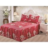 Hailey Cranberry Floral 3-piece Bedspread Set