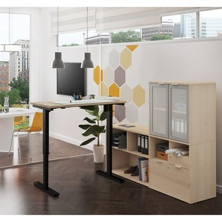 Link to Bestar i3 Plus Height Adjustable L-Desk with Frosted Glass Door Hutch Similar Items in Desks & Computer Tables