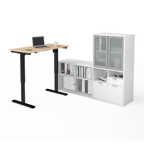 Bestar i3 Plus Height Adjustable L-Desk with Frosted Glass Door Hutch