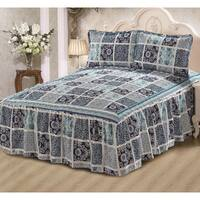 Khloe Blue Checker 3-piece Bedspread Set