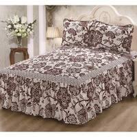 Khloe Burgundy Off White Floral 3-piece Bedspread Set