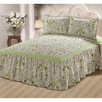 Khloe Sage Floral 3-piece Bedspread Set