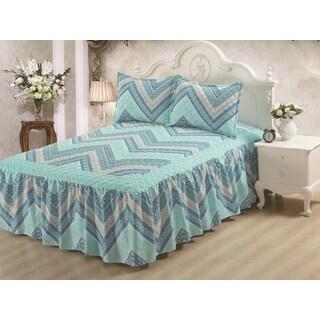 Hailey Blue Chevron 3-piece Bedspread Set