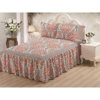 Hailey Gray Damask 3-piece Bedspread Set