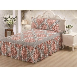 Hailey Gray Damask 3-piece Bedspread Set