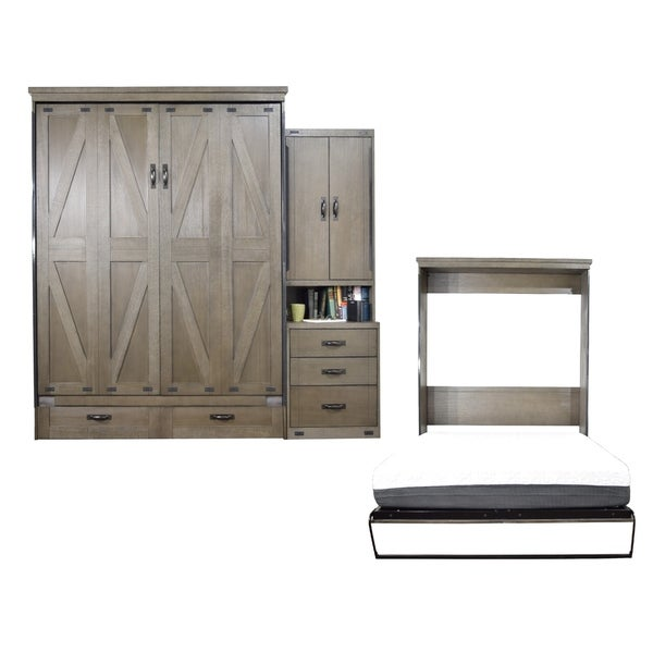 Queen Steeplechase Murphy Bed with One Pier Cabinet in Dove Gray Finish