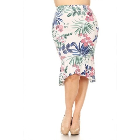 Women's Plus Size Tropical Floral Skirt