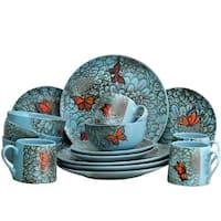 Elama's Butterfly Garden 16 Piece Stoneware Dinnerware Set