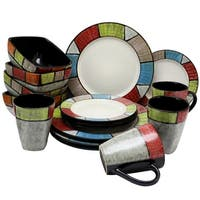 Elama's Country Cottage16 Piece Stoneware Dinnerware Set