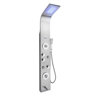 "Golden Vantage SP0069 63"" Rainfall Waterfall Stainless Steel Multi-Function Bathroom Shower Panel System w/ LED Head"