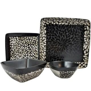 Elama's Desert Bloom 16 Piece Stoneware Dinnerware Set