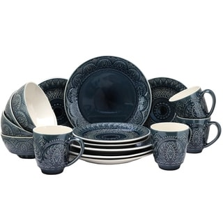 Elamau0027s Petra 16 Piece Stoneware Dinnerware Set  sc 1 st  Overstock & Textured Dinnerware | Find Great Kitchen u0026 Dining Deals Shopping at ...