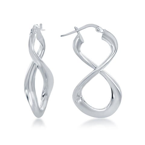La Preciosa Sterling Silver, Rose Gold Plated, Gold Plated Italian High Polish Solid Infinity Figure 8 Earrings