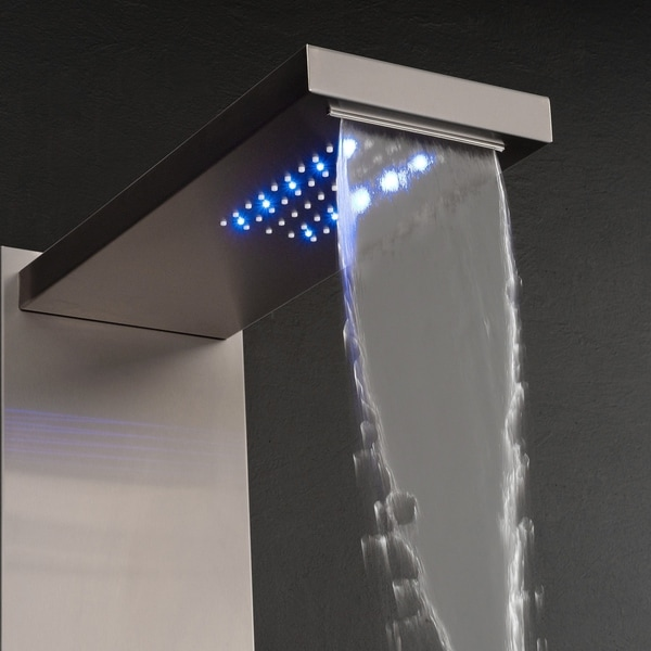 "55/"" Rainfall Waterfall Black Brown Stainless Steel Shower Panel W// LED Head"