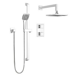 Stylish Square Shower Faucet  Complete set with Thermostatic Diverter Valve, Sliding Bar and Shower Head, Polished Chrome