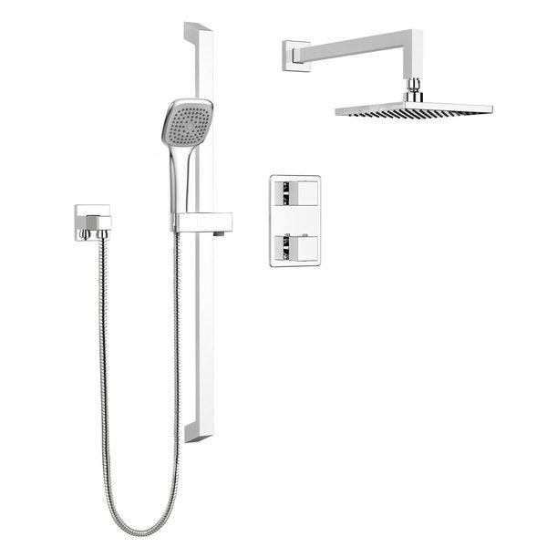 85a8865730da5 Stylish Square Shower Faucet - Complete set with Thermostatic Diverter  Valve, Sliding Bar and Shower