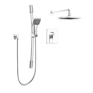 Modern Square Shower Faucet - Complete set with Pressure Balanced Diverter Valve, Sliding Bar and Shower Head, Polished Chrome
