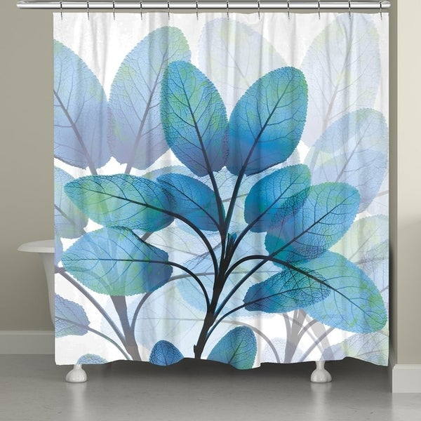Shop Laural Home Shades of Blue X-Ray Leaves Shower Curtain - Free ...