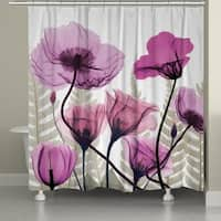 Laural Home X-Ray Fuchsia Floral Shower Curtain