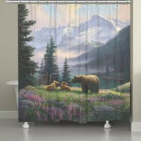 Laural Home Mountain Bear with Cubs Shower Curtain