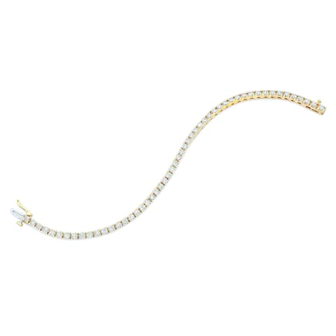Diamond Round 4-prong Tennis Bracelet In 14k Yellow Gold (4ctw)