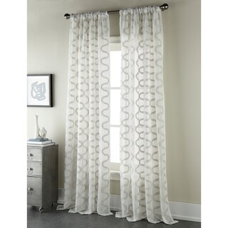Sherry Kline Burlingame Grey 96-inch Embroidered Sheer Panel (Pair) - 52 x 96