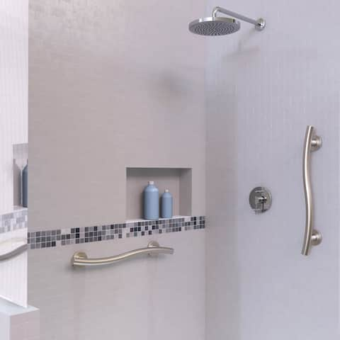 Keeney Wave Designer Grab Bar, Satin Brushed Nickel, 16 Inch
