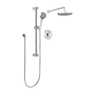 Sleek Round Rain Shower Faucet - Complete Set with Diverter Valve, Hand Shower Sliding Bar and Shower Head, Polished Chrome